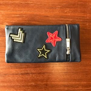 Blue Bifold Snap Faux leather Patch Wallet
